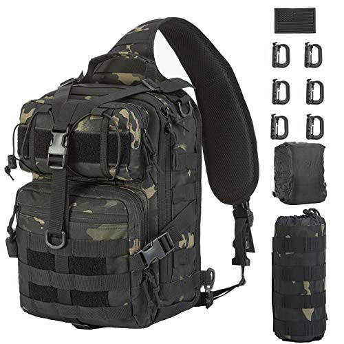 GZ XINXING Tactical Sling Military Shoulder Backpack EDC Assault Range Bags (Black Multicam)