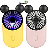 Kbinter Cute Personal Mini Fan, Handheld & Portable USB Rechargeable Fan with Beautiful LED Light, 3 Adjustable Speeds, Portable Holder, for Indoor Outdoor Activities, Cute Mouse 2 Pack (Yellow+Pink)