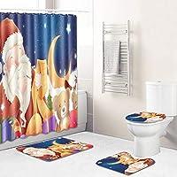 バスルームの装飾のための12件のフック+バスマットトイレ蓋マットラグのある美しいサンタ・防水簡単にきれいなクリスマスシャワーカーテンセット、バスカーテン santa3-45*75cm