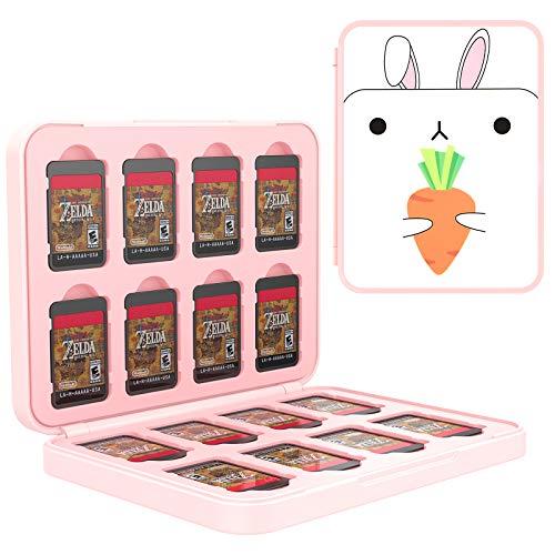 TiMOVO Speicherkarten Hülle für 16 Spielkarten und 16 SD-Karten Kompatibel mit Switch OLED Modell 2021/Switch/Switch lite, Aufbewahrung Tasche Memory Card Organizer mit Mustern - Weiß Hase