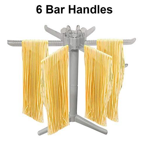 Nudeltrockner, zusammenklappbarer Kunststoff-Spaghetti-Wäscheständer-Nudelständer mit 6 Stangengriffen für den Heimgebrauch, einfache Aufbewahrung und schnelle Einrichtung