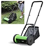 Popamazing Hand Power Garden Lawn Push Reel Manual Lawnmower Grass Cutter