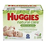 Baby Wipes, Huggies Natural Care Sensitive Baby Diaper Wipes, Unscented, Hypoallergenic, 6 Flip-Top Packs (288 Wipes Total)