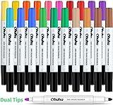 Rotuladores de borrado en seco, paquete de 20 de Ohuhu, 15 colores surtidos, puntas dobles, rotuladores de ventana de borrado en seco para pizarras blancas, calendario, refrigerador, niños y escuela,