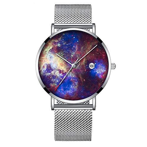 Minimalistische Fashion Quarz Armbanduhr Elite Ultra Dünn Wasserdicht Sportuhr mit Datum mit Mesh Band 284. Tarantel Nebel Weltraum-Astronomie