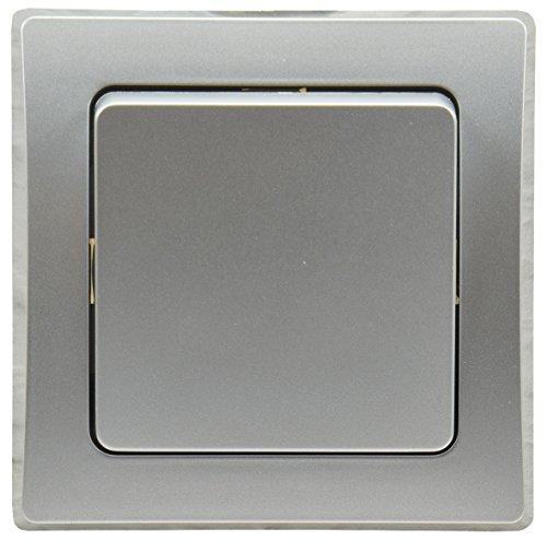 DELPHI Wechsel-Schalter Lichtschalter 230V Unterputz mit 1-fach Rahmen kombinierbar mit Mehrfachrahmen Silber Grau