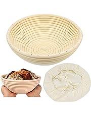 ZesNice Cesta pan, Cesta Fermentacion Pan Redonda 25 cm, Cesta de Ratán Natural para Pan y Masa, Cesta para hacer pan