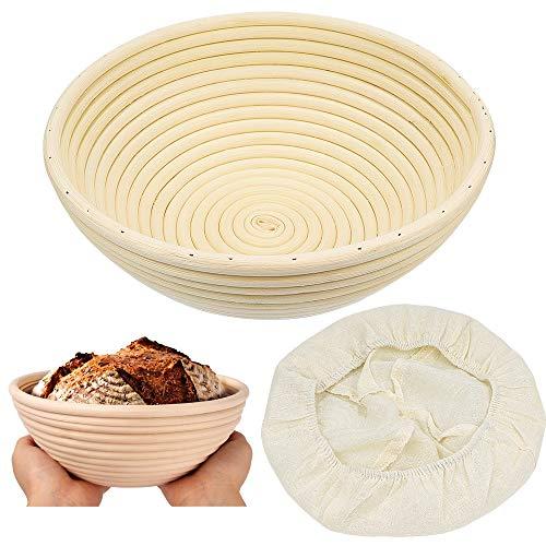 ZesNice Cestino da lievitazione, Contiene 500 g di impasto stile Banneton in rattan per pane artigianale 22 x 8,5 cm