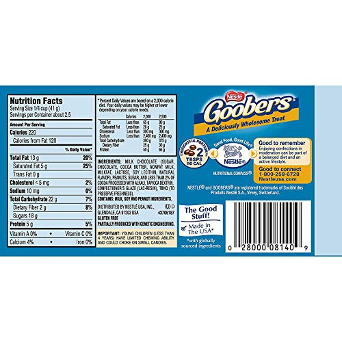 Goobers Fresh Roasted Peanuts Smothered with Nestle Classic Milk Chocolate, 15 Count