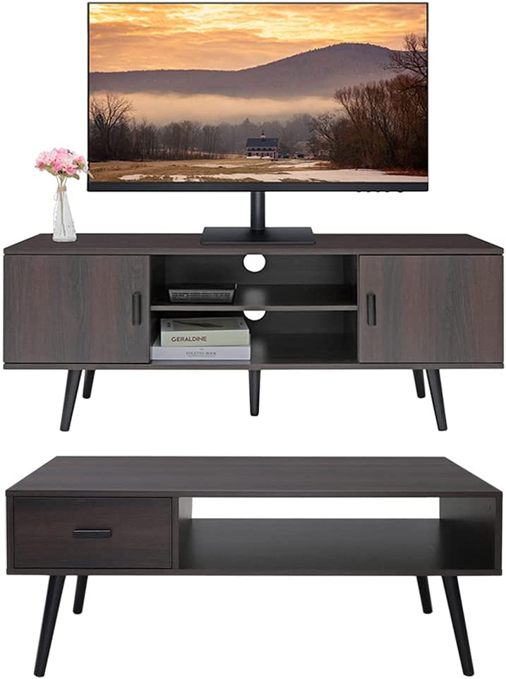 IWELL Mid-Century Coffee Table with Drawer Miami Mall Shelf Sale SALE% OFF w and Stand TV