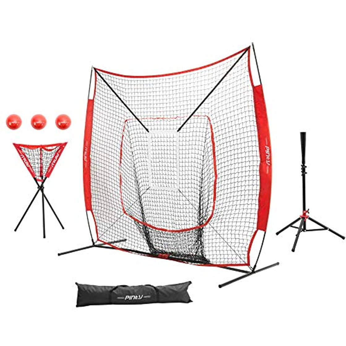 Pinty Baseball and Softball Practice Net 7×7 Hitting Batting Net w/Strick Zone Target + Baseball Softball Batting Tee + Ball Caddy + Weighted Training Balls