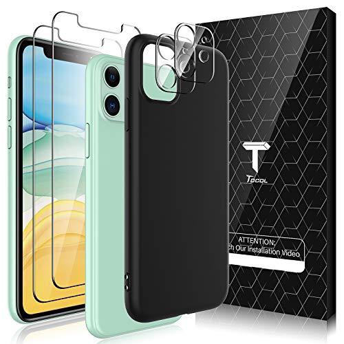 TOCOL [3 In 1 Hülle Kompatibel mit iPhone 11 Silikon Handyhülle,Ultra Dünn Aber Stoßfeste 2 Stück Panzergläs 2 Stück Kamera Panzergläs, Schutzhülle iPhone 11 Schwarz Cover