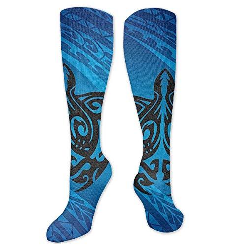 Hawai Tribal Honu Turtle - Calcetines de compresin para mujeres y hombres, color azul