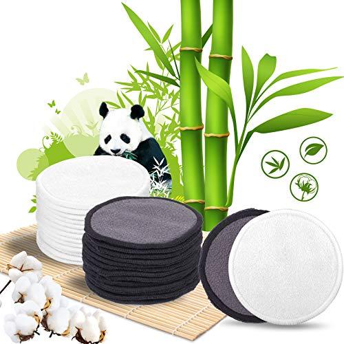 Abschminkpads waschbar, QTTO Abschminkpads mit 26 Stück, Leichte und saubere Wattepads wiederverwendbar, Bambusfasermaterial, mit Netzbeutel und Farbverpackung, 13 stück Grau und 13 stück Weiß