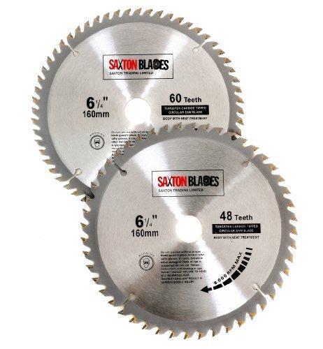 Saxton TCT Kreissägeblätter für Holz, 160 mm x 20 mm, für Festool TS55 Bosch Makita Pack B, passend für 165 mm Sägen, 2 Stück