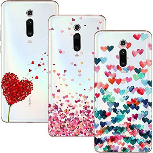 Cover Xiaomi Mi 9T PRO/Xiaomi Mi 9T Case, (3 Pack) Morbido Trasparente Silicone Custodie Protettivo TPU Gel Case, Amore