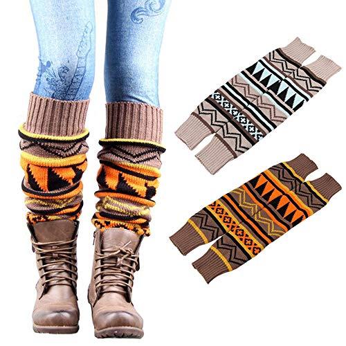 Kaxich - 2 pares de calcetines de invierno para mujer, cálidos, largos, de ganchillo bohemio, de lana gruesa