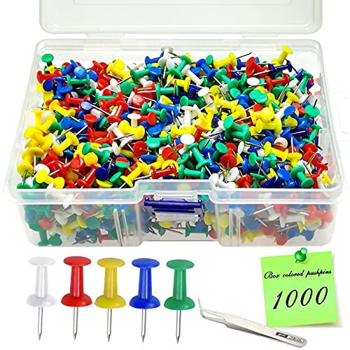 GZhaizhuan - 1000 chinchetas de metal, creativas, multicolores, decorativas, para mapas, fotos, tablones y tablas de corcho, con pinzas