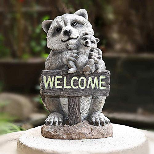 Raccoon Bird Feeder Garden Sculpture Animal Lawn Ornaments By Country Living Statue Frost Resistant,BirdFeeder For home, outdoor decoration