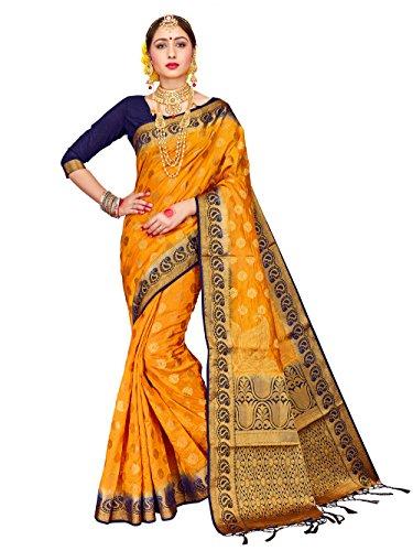 HEART N SOUL Sari indien Bollywood pour femme Banarasi Art en soie tissée avec chemisier non cousu - Jaune - Taille Unique
