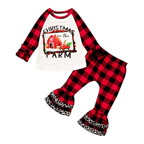 Christmas Outfits Infant Toddler Baby Boy Girls Merry Christmas Print Ruffle T-Shirt Plaid Leopard Bell Bottom Pants Clothes Sets (Farm  6-12 Months)