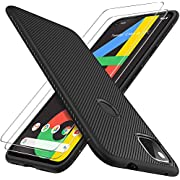 GESMA for Google Pixel 4a Case, [1 Case+2 Screen Protector][High Sensitivity][NOT Fit with 4a 5G] Case with Tempered Glass Screen Protector for Google Pixel 4a 4G(Black)