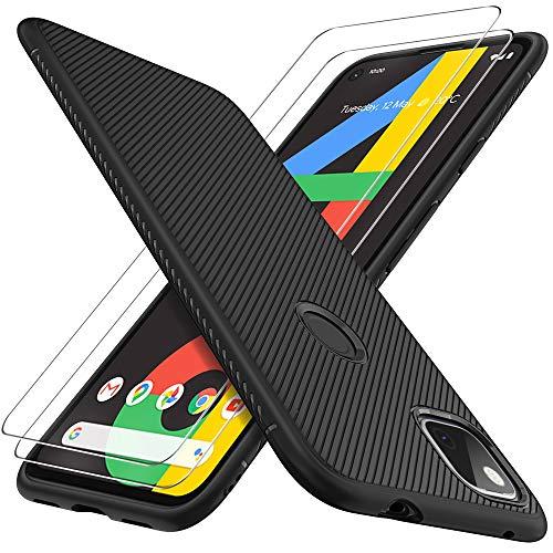 GESMA Schutzfolie Kompatibel mit Google Pixel 4a 2 Stück, Hülle Kompatibel mit Google Pixel 4a, stoßfeste, Hülle mit 2 Stück Bildschirmschutzfolie, Einfacher Montage.