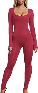 maweisong 女性ソリッドロングスリーブスリムフィットボディコンワンピースジャンプスーツ