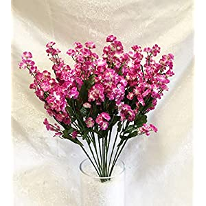 12″ Bouquet Babys Breath Fuchsia Pink & Cream Gypsophila Silk Wedding Artificial Flowers