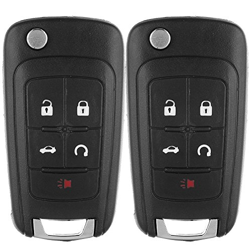 ECCPP Keyless Entry Remote Folding Key Fob Shell Case X2 Replacement Compatible with GMC Terrain, Buick Allure Lacrosse Regal Verano Encore, Chevy Camaro Cruze Malibu Equinox Sonic Impala OHT01060512