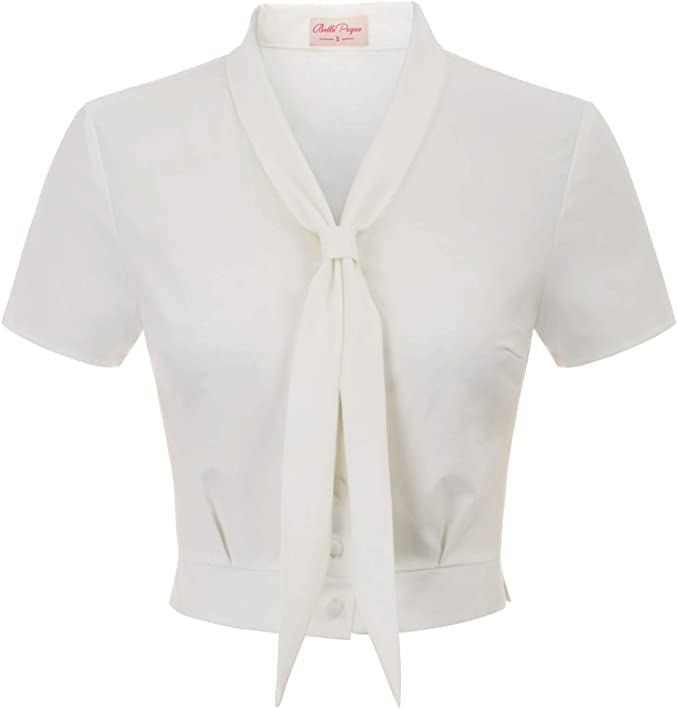 1940s Blouses and Tops Belle Poque Women Vintage Inspired Tie Neck Blouse Short Sleeve Cropped Top BP877 $21.99 AT vintagedancer.com