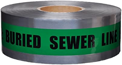 Swanson DETG31005 3-Inch by 1000-Feet 5-MIL Detectable Tape Caution with Buried Sewer Line Below Green/Black Print