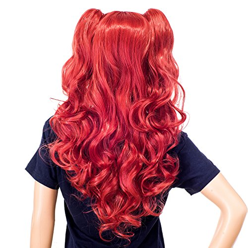 SWACC Long Curly Double Claw Clip on Ponytail Wig Synthetic Pastel Colorful Cosplay Daily Party Wig for Women and Kids with Wig Cap (Red)