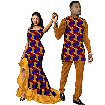 African Couple Outfits Men and Women Matching Clothing Wear Wedding Party Wax Print Fashion Design Traditional 543 womenXXS/US4