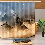 NEWTOO Wolf Shower Curtain, Wildlife Animals Howling Wolf in Winter Forest Design Waterproof Polyester Set with Hooks, 72 X 72 Inches, LYNT359-72