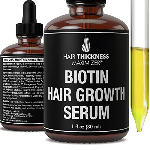 Biotin Hair Growth Serum by Hair Thickness Maximizer. DHT Blocker Oil For Hair Loss, Dry, Damaged, Hair. Natural Thickening and Smoothing of Hair and Nourishing of Scalp for Women and Men (1oz)