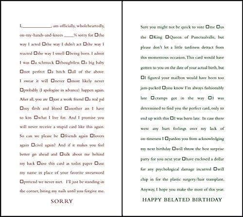 quiplip Funny Lückentext Sorry und Verspätete Geburtstag Karten, 6er Pack (ql21326pck)