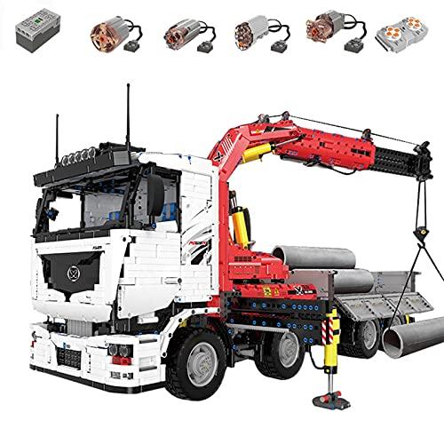 Camión de remolque técnico con funciones eléctricas, camión grúa neumática motorizada RC de 2.4G 4 canales, 8238 piezas de bloques construcción compatibles con Lego Technic dynamic,85 * 25 * 31CM