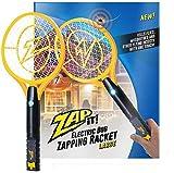 ZAP IT! Raquette Tue-Mouches électrique - Chargeur USB 4000 V - Lumière LED Super Lumineuse pour Frapper dans l'obscurité - Jaune. (Large)