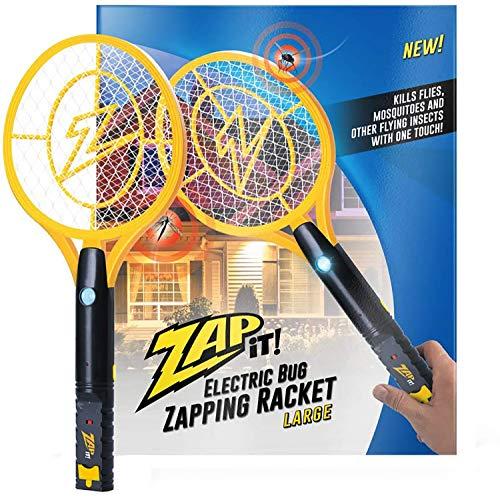 ZAP IT!! Exterminador eléctrico de insectos Raqueta eléctrica exterminadora de insectos, matamoscas y matamosquitos - Carga USB de 4000 voltios, Luz LED superbrillante para golpear en la oscuridad