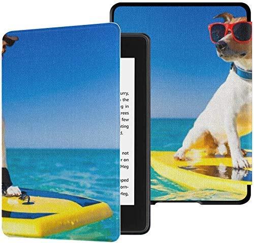 lymknumb Funda de tela totalmente nueva Kindle Paperwhite resistente al agua (10a generación, versión 2018), perro que practica surf en la tabla de surf con gafas de sol Funda para tableta