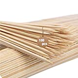 100Pcs Natural Bamboo Skewers Sticks(4mm) - Ideal Barbecue Buffet Picnic BBQ Wooden Skewers Supplies for Fruit Kabob Vegetables Marshmallow Strawberry Chocolate Fountain Grilling and Party 14 Inch