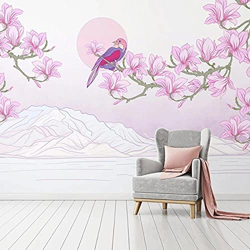 3D Fotomurales No Tejido Mural Pájaros Y Flores Salón Dormitorio Despacho Pasillo Decoración Murales Decoración De Paredes Moderna 200X150cm