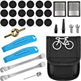 Mudder Bicycle Repair Kit Tire Puncture Repair Tool Bicycle Tire Patch Levers Rasp Tool with Bag for Inflatable Inner Tubes in Road