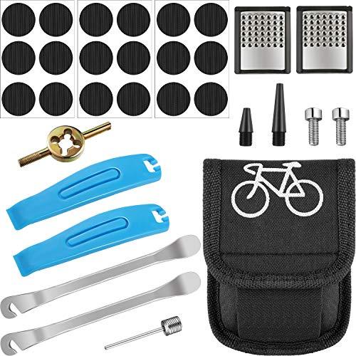 Kit de Reparación de Bicicletas Herramienta de Reparación de Pinchazos de Neumáticos Herramienta de Escofina de Palancas de Parche de Bicicleta con Bolsa para Tubos Interiores Inflables en Carretera