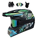 MRDEER® Motocross Helm Set mit Handschuhe Maske...