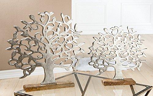Alu Lebensbaum auf Holzbasis silber Mango klein 37 cm