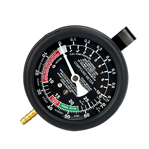 FreeTec Vacuómetro Manómetro Comprobador de Presión y Vacío Para Coche o...