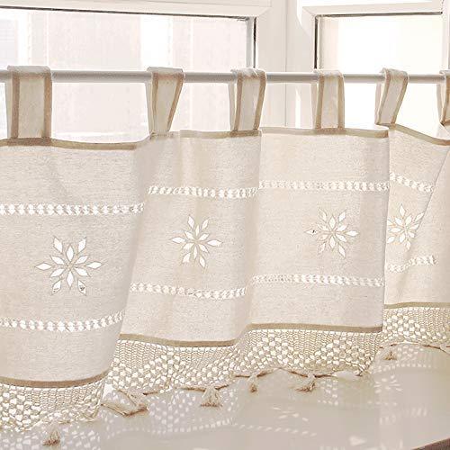 NIBESSER Scheibengardine Küchengardine Bistrogardine mit Schlaufen Voile Gardine 45cmx150cm