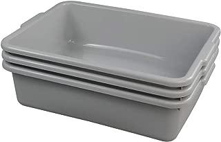 Ggbin Plastic Dish Tubs, Commercial Bus Box/Wash Basin Tote Box, 3-Pack(Grey, 13L)